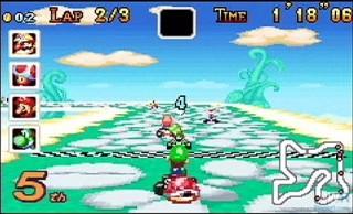 Todos los circuitos de Super Mario Kart estaban disponibles en la GBA. ¡Genial!