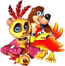 De izquierda a derecha: Mumbo, Banjo y Kazooie